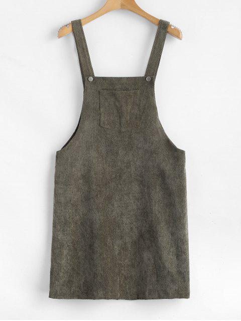 fashion ZAFUL Front Pocket Corduroy Pinafore Dress - CAMOUFLAGE GREEN M Mobile