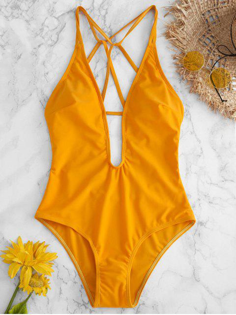 ZAFUL Traje de baño con tirantes y pierna alta - Amarillo Brillante L Mobile