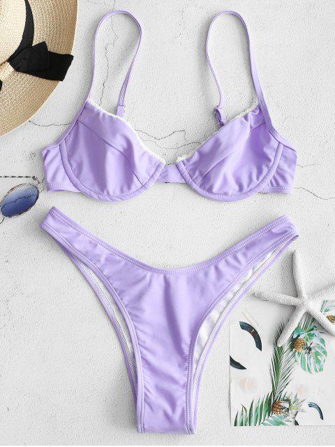 shop ZAFUL Laced Underwire Bikini Set - MAUVE L Mobile