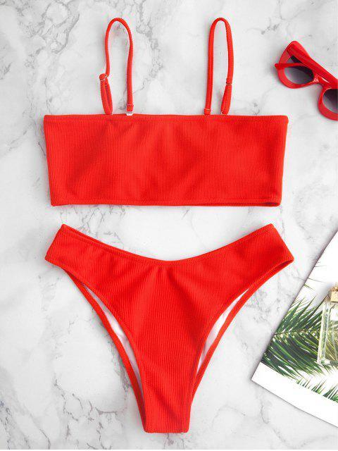 trendy Ribbed Texture Bandeau Bikini - RED M Mobile