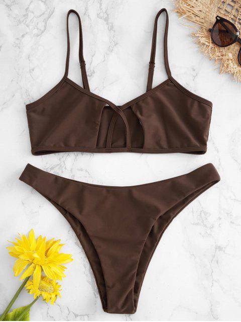 women's ZAFUL Cutout Cami Bralette Bikini Set - COFFEE S Mobile