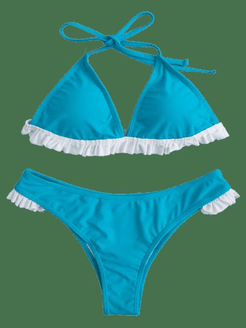 affordable ZAFUL Frilled Halter Bikini Set - TURQUOISE M Mobile