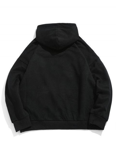 outfits Kangaroo Pocket Cartoon Sun Printed Fleece Hoodie - BLACK L Mobile