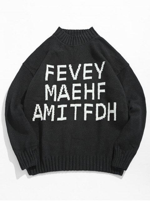 women High Neck Letter Printed Pullover Sweater - BLACK 2XL Mobile