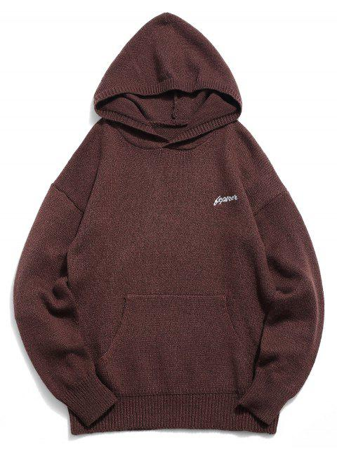 buy Solid Color Hooded Pullover Sweater - COFFEE XL Mobile