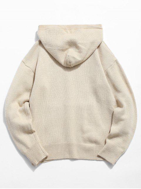 fashion Solid Color Hooded Pullover Sweater - WARM WHITE L Mobile
