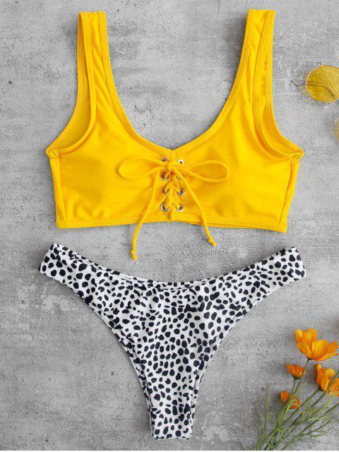 new ZAFUL Printed Lace-up Tank Bikini Set - RUBBER DUCKY YELLOW L Mobile