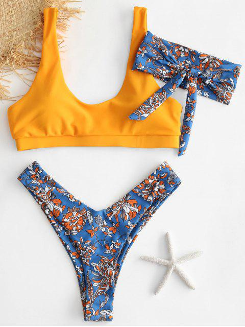 sale ZAFUL Flower Bikini Set with Headband - OCEAN BLUE L Mobile