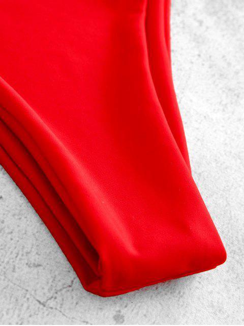 shop ZAFUL Striped Cami Bikini Set - RED M Mobile
