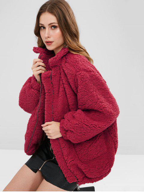 fancy Slip Pockets Faux Fur Teddy Coat - RED L Mobile