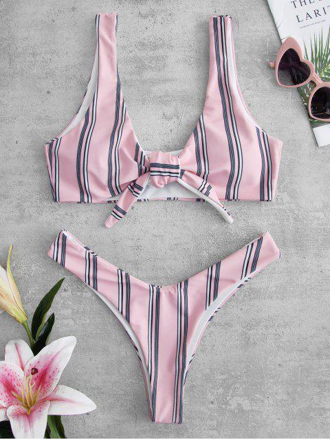 fancy ZAFUL Striped Knotted Bikini Set - PIG PINK L Mobile