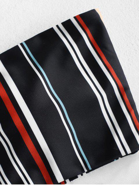 ZAFUL Полосатый принт Высокий вырез Бандо Бикини в сборе - Многоцветный M Mobile