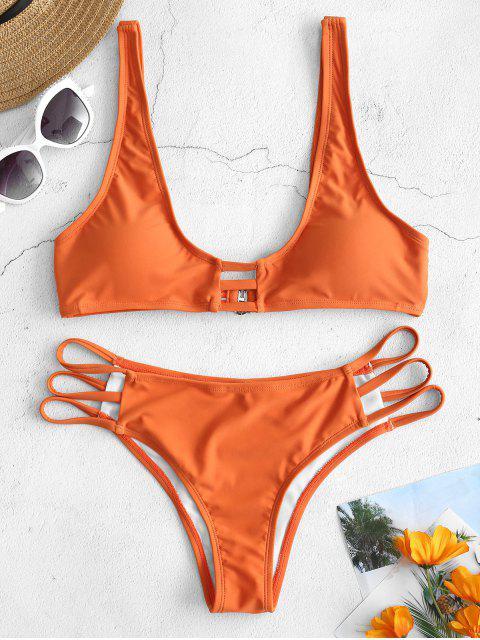 ladies ZAFUL Plunge Strappy Bikini Set - DARK ORANGE M Mobile