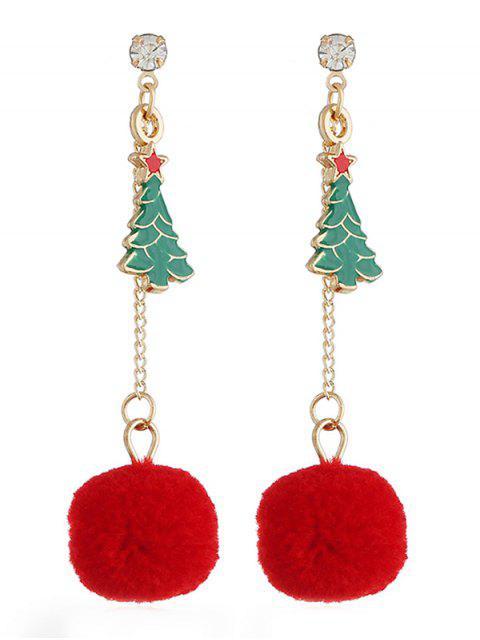 Stylish Christmas Tree Pom Pom Drop Earrings - Многоцветный  Mobile