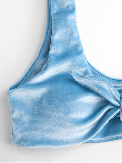 new ZAFUL Tie Front Velvet Bikini Set - LIGHT BLUE L Mobile
