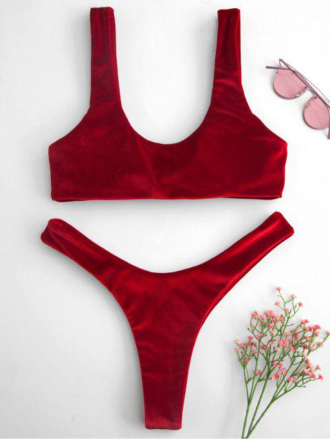 hot ZAFUL Tie Front Velvet Bikini Set - LAVA RED S Mobile