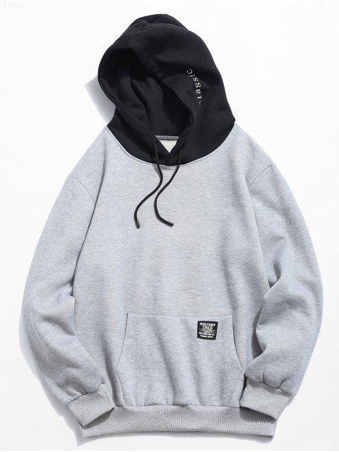 womens Color-blocking Letter Patch Detail Pouch Pocket Fleece Hoodie - LIGHT GRAY XS Mobile