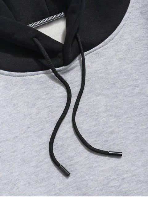 women Color-blocking Letter Patch Detail Pouch Pocket Fleece Hoodie - LIGHT GRAY S Mobile