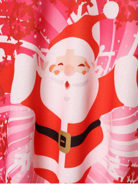 Plus Size Christmas Santa Claus Print T-shirt - 紅 L Mobile