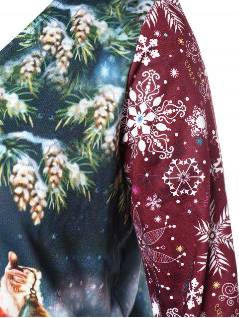 Plus Size Skew Neck Santa Claus Sweatshirt - 多 L Mobile