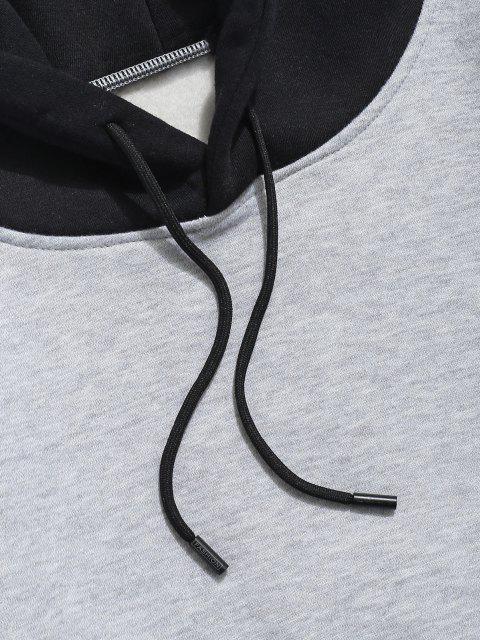 Sudadera con Capuchade Lana con Bolsillo de Parche de Carta de Color de Bloqueo - Gris Claro XS Mobile