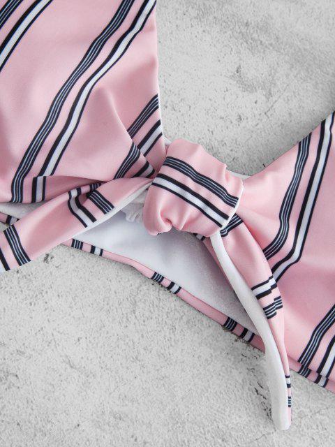 fashion ZAFUL Striped Knotted Bikini Set - PIG PINK S Mobile