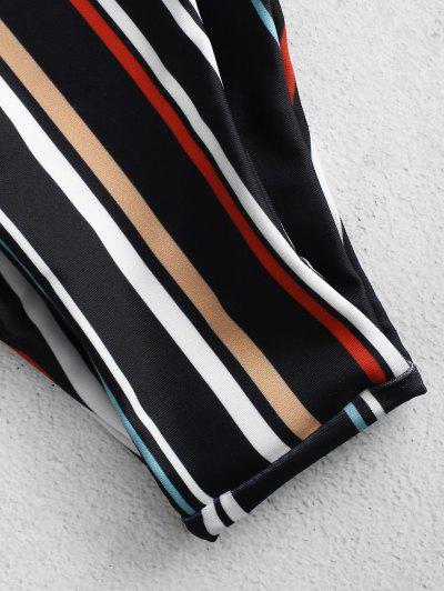 ZAFUL Striped High Cut Bandeau Bikini Set, Multi