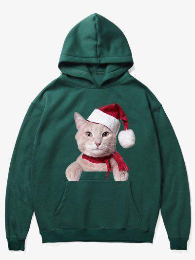 Kangaroo Pocket Christmas Cat Pattern Hoodie - Medium Sea Green 2xl