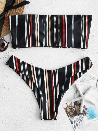 ZAFUL Striped High Cut Bandeau Bikini Set - Multi S