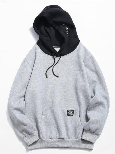 Color-blocking Letter Patch Detail Pouch Pocket Fleece Hoodie - Light Gray Xl