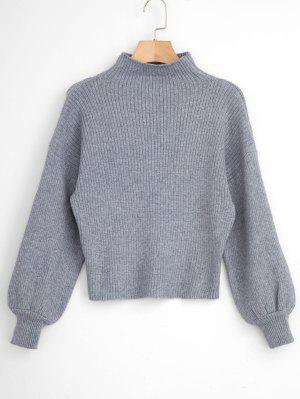 Pullover Blouson Sleeve Ribbed Funnel Sweater Gray