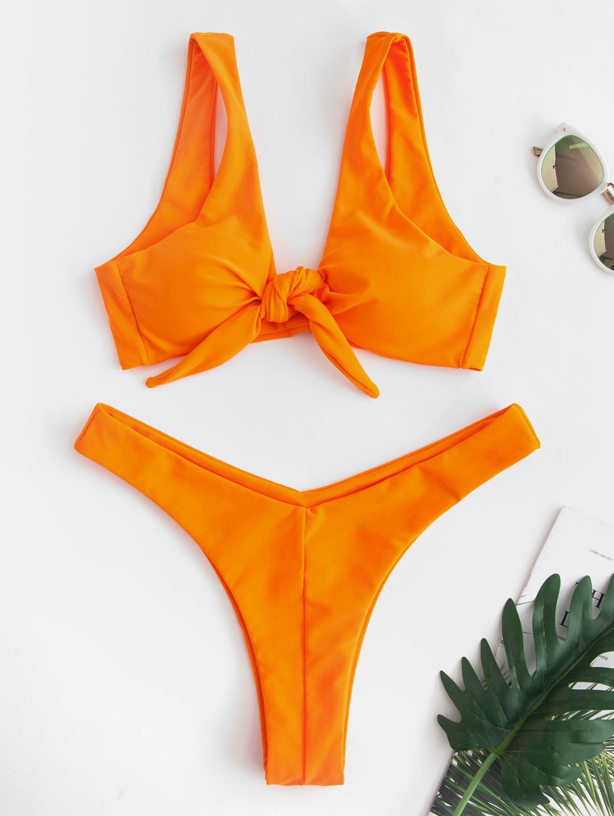 ZAFUL Tie Front High Leg Tank Bikini Swimsuit, Tangerine