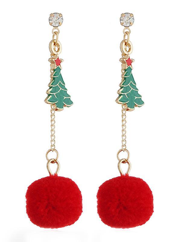Stylish Christmas Tree Pom Pom Drop Earrings, Multi
