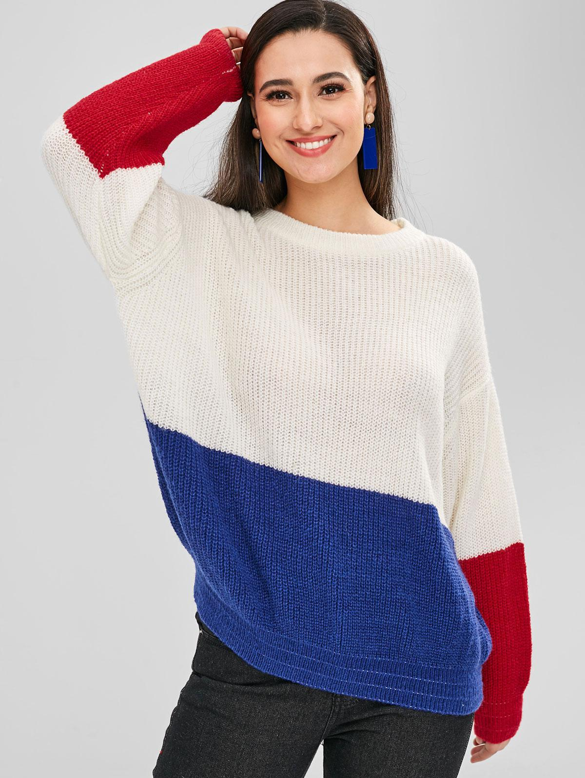 ZAFUL Pullover Loose Color Block Sweater