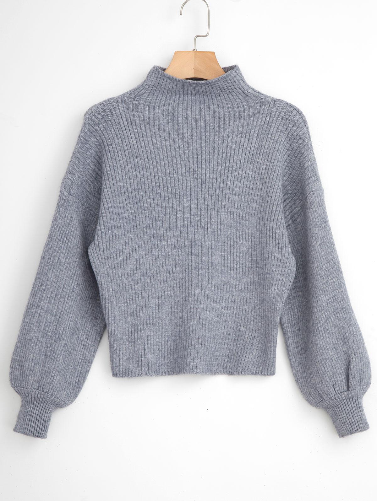 Pullover Blouson Sleeve Ribbed Funnel Sweater