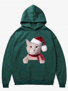 الكنغر جيب عيد الميلاد نمط القط هوديي - متوسطة البحر الخضراء 2xl