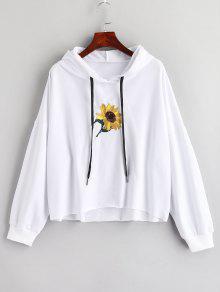 الترتر زهرة مطرزة هوديي - أبيض L