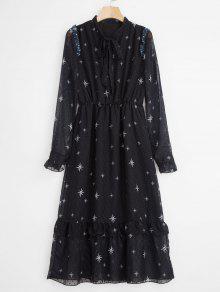 فستان بياقة مطبعة - أسود