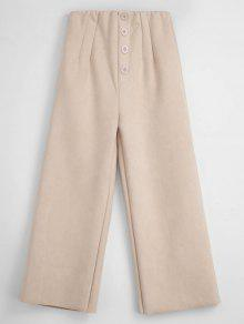 الخام قص فو الجلد المدبوغ سروال واسع الساق - بلانشيد اللوز M