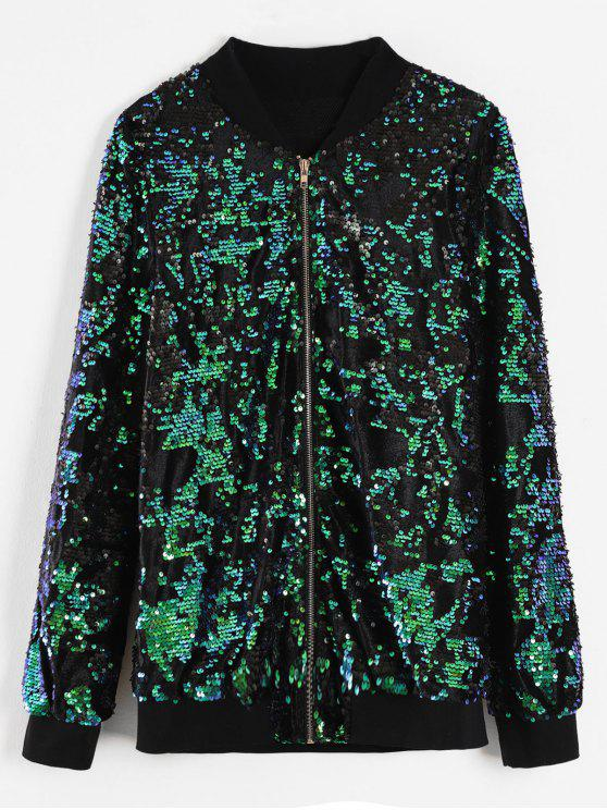 hot ZAFUL Sequins Zip Up Bomber Jacket - MULTI S