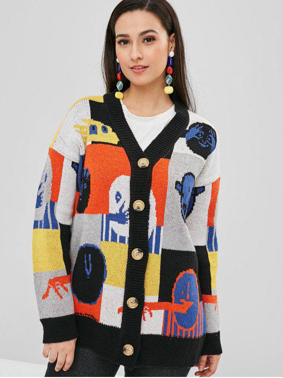 shop Button Up Graphic Loose Cardigan - MULTI ONE SIZE