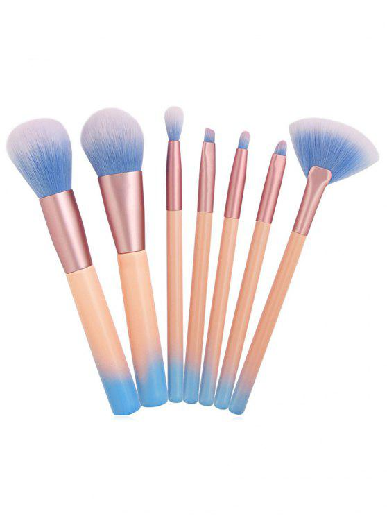 best 7 Pcs Gradient Pink Handles Synthetic Fiber Hair Cosmetic Brush Suit - PINK