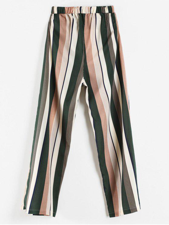 outfit High Waisted Vertical Striped Wide Leg Pants - MULTI XL