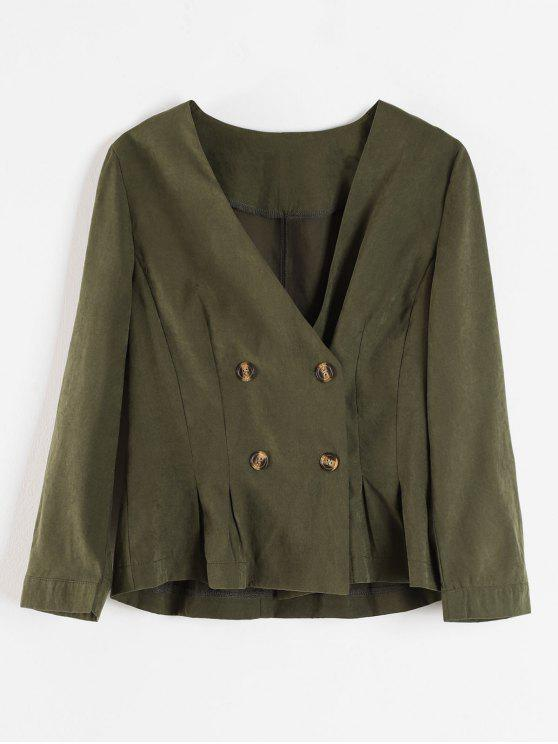 new Lapelless Pleated Waist Blazer - ARMY GREEN L