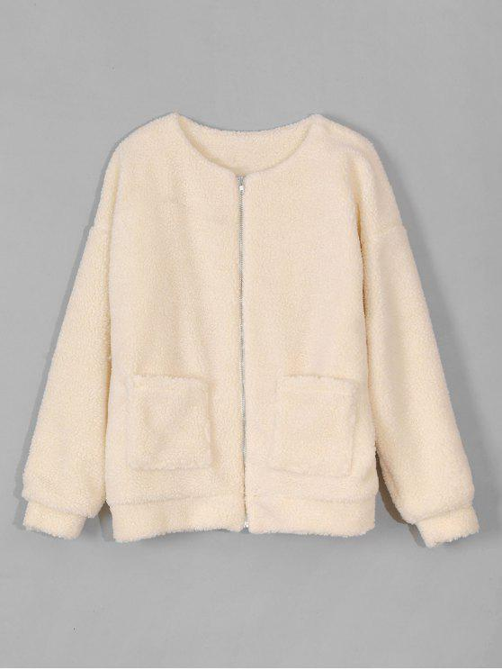 latest Zip Up Fluffy Faux Fur Coat - BLONDE ONE SIZE