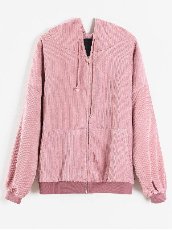 outfit Quilted Front Pocket Corduroy Jacket - PINK S