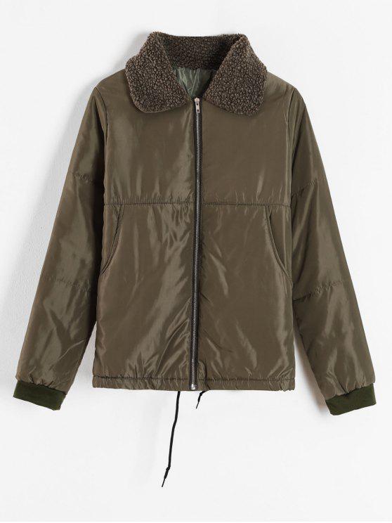 trendy Borg Collar Puffer Jacket - ARMY GREEN L