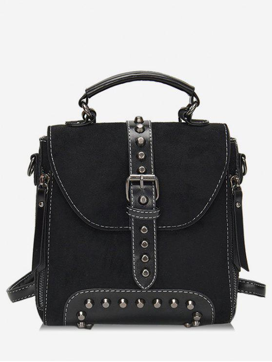 women's Mini Buckle Rivet School Backpack - BLACK