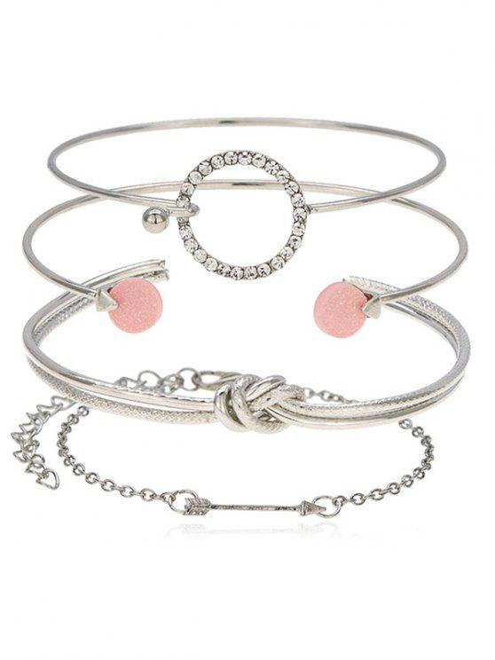 outfits Round Knot Arrow Designed Cuff Bracelets Set - SILVER