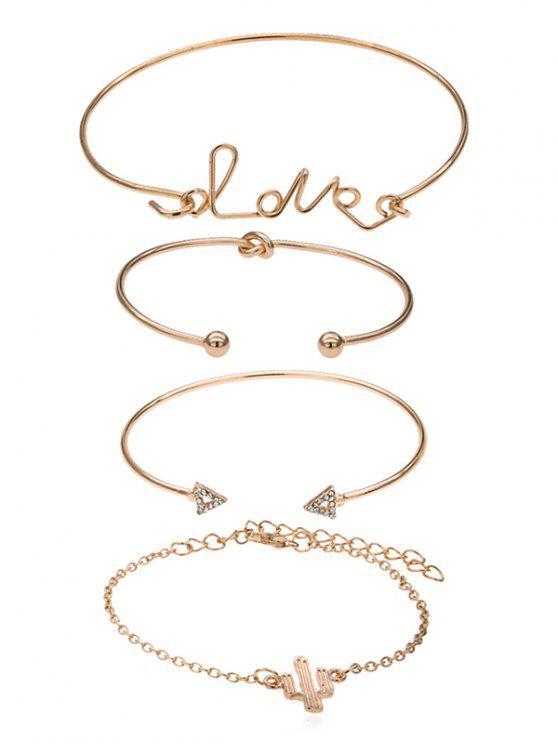 fashion Triangle Shape Love Letters Design Chain Cuff Bracelets Set - GOLD